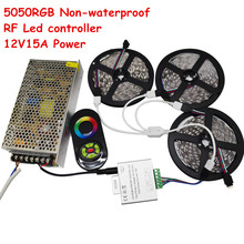 15 м Светодиодные ленты SMD 5050 RGB света DC12V 60LED/M-Водонепроницаемый свет + RF Touch Remote + 12 В 15A Питание
