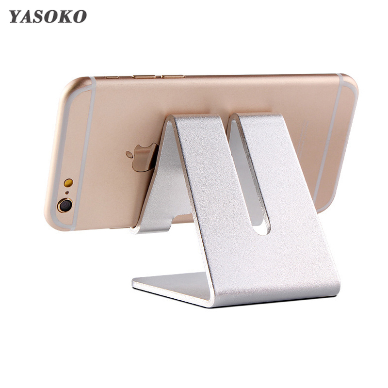 YASOKO Aluminum Metal Phone Holder Desk Holder Non-slip Mobile Phone Stand Support for tablet Phone for IPhone/IPad