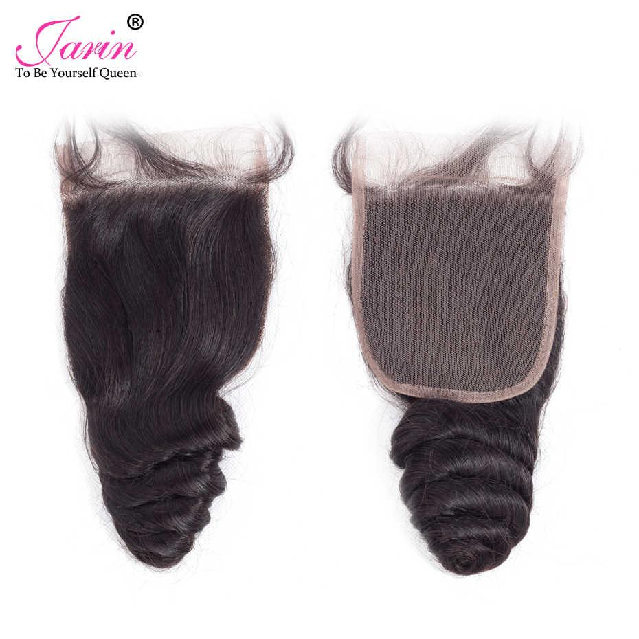 JARIN волосы перуанское неплотное переплетение 3 пучка человеческих волос с закрытием шнурка 4*4 Бесплатная/средняя часть свободная глубокая с закрытием remy волосы
