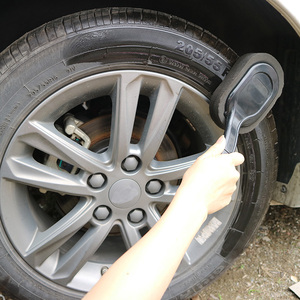 Image 2 - Auto Wassen Car Cleaning Tool Black Lange Handvat Borstel Band Waxen Spons Car Care Producten Multifunctionele Wiel Borstel 2019