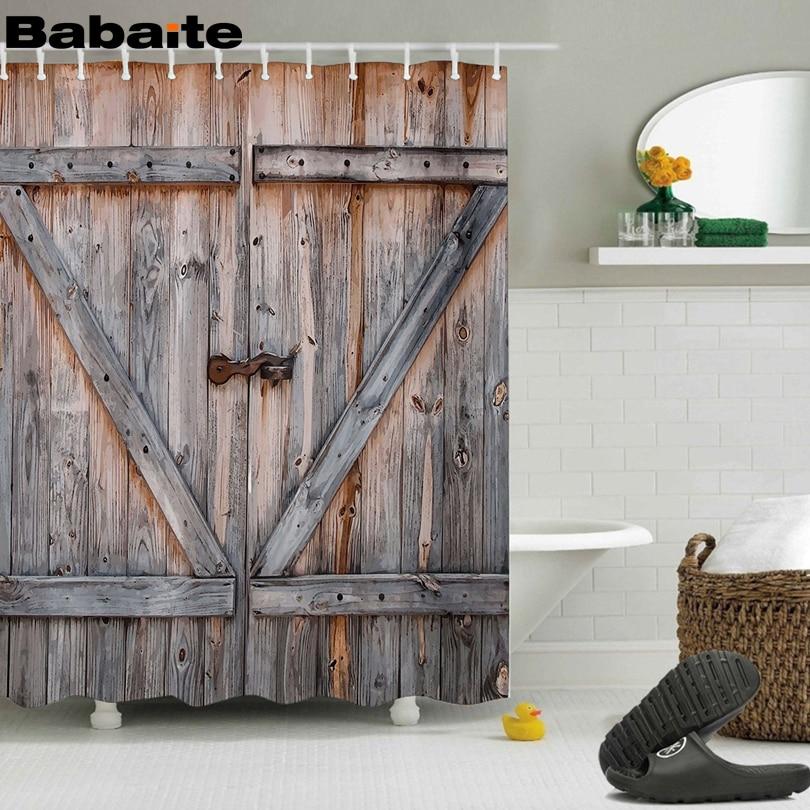 Babaite Rustic Antique Wooden Door 3D Shower Curtain Waterproof Polyester Fabric Bathroom Eco-friendly