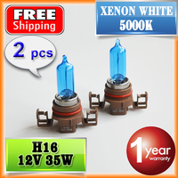 2 PCS 1 Pair 12V 35W H16 Halogen Lamp 5000K HeadLight Bulb Xenon Dark Blue Glass