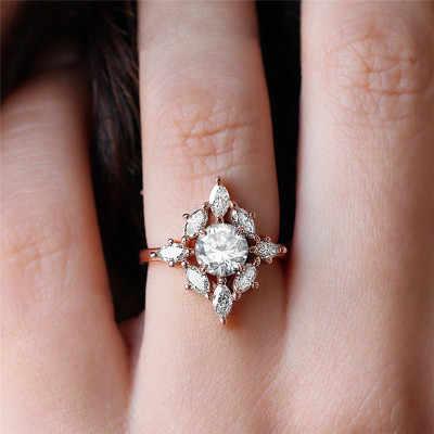 Роскошная звезда розового золота циркон 925 Серебряное кольцо Женская звезда помолвка вечерние Обручальные кольца оптовая продажа ювелирных изделий