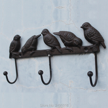 Cast Iron Birds On Branch Hanger With 3 Hooks - Decorative Cast Iron Wall Hook Rack For Coats, Hats, Keys, Towels,Clothes цена и фото