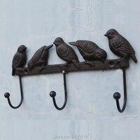 Gusseisen Vögel Auf Zweig Aufhänger Mit 3 Haken Dekorative Gusseisen Wand Haken Rack Für Mäntel  hüte  Schlüssel  Handtücher  Kleidung-in Haken & Leisten aus Heim und Garten bei