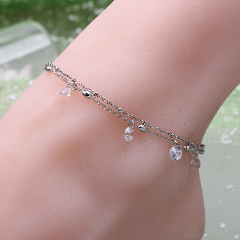 Fashion woman plating gold silver Anklets chain zircon crystal ball imitation pearls summer beach Anklets bracelet jewelry gift