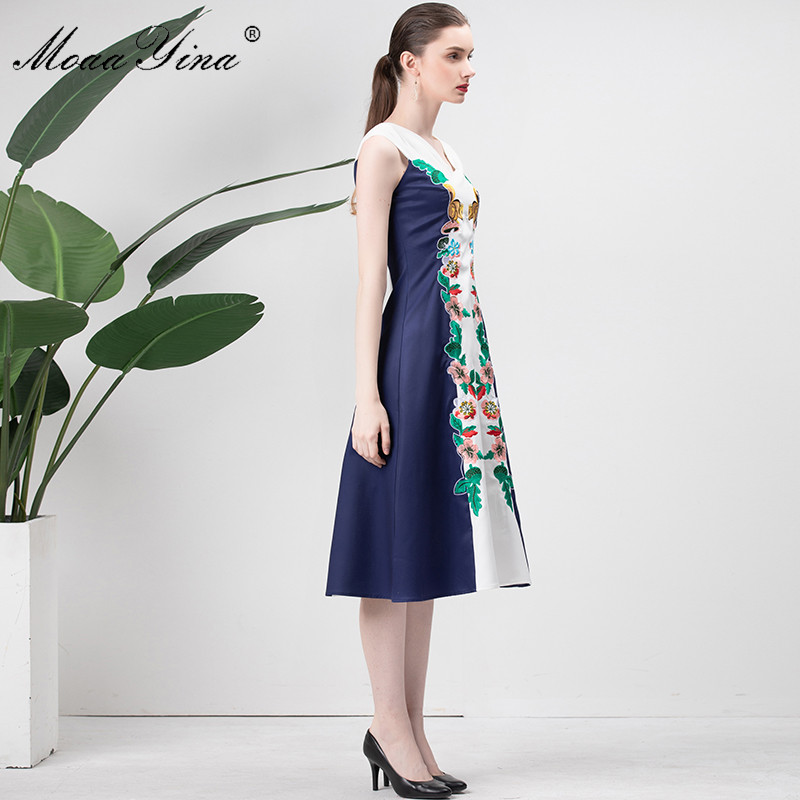 De Designer Robe Blanc Broderie Vacances Robes Écureuil cou V Fashion Femmes Midi Mince D'été Moaayina Piste Florale Y5FRqwn