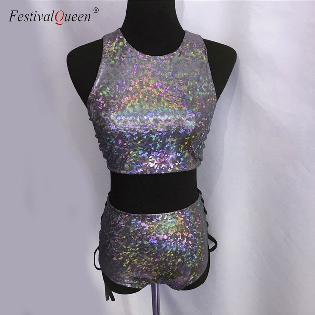 FestivalQueen holographic crop top women 2 piece sets festival rave clothes wear outfits hologram tank top high waist hot shorts 4