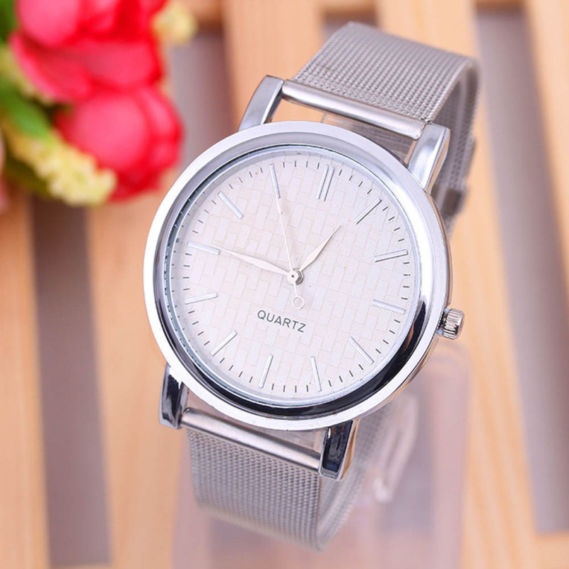 Excellent Quality New Brand Silver Casual Quartz Watch Women Metal Mesh Stainless Steel Dress Watches Relogio Feminino for Gift