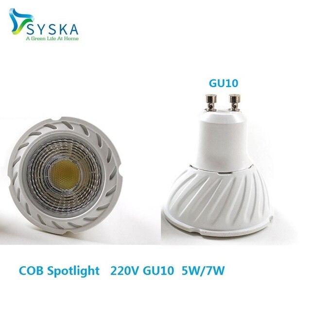 Syska 6pcs/lot 7W 5W COB Spotlight Round LED Bulb LED Lamp GU10/GU5