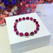 Radiation Protection Adjustable Rose Red Natural Stone Tigers Eye Ladies Bracelets 925 Sterling Silver Woman YBR071