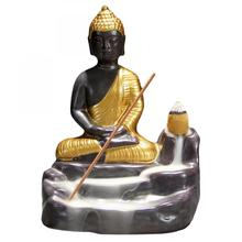 Gold Buddha Backflow Incense Burner Traditional Ceramic Crafts Smoke Waterfall Incense Holder Aromatherapy Home Office Decor backflow burner censer holder ceramic backflow waterfall smoke incense ornament home decor cones aroma spice 24 15 5 14 5cm