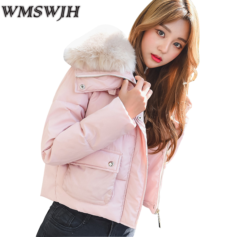 High Quality 2017 Cotton Padded Large Fur Collar Women Winter Jackets Thickening Wadded Coat Student's Short Parkas Outwear