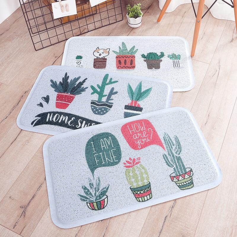 Vert Cactus plantes tropicales tapis PVC anti-dérapant tapis de sol pour salon chambre cuisine couloir décor paillasson D-45