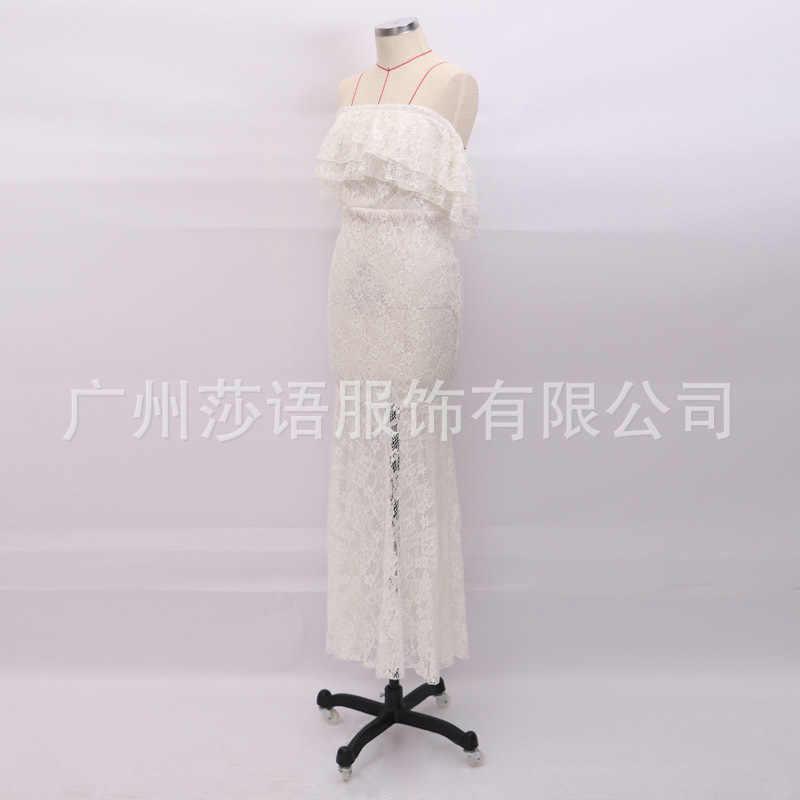 2019 летние Для женщин белое кружевное длинное платье с вырезом лодочкой с открытыми плечами, сексуальное облегающее платье Макси Вечерние платье Кружева Для женщин на день рождения длинное платье