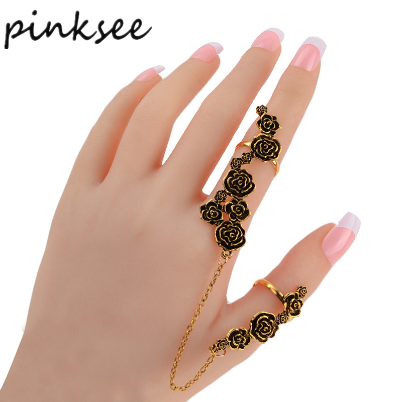 PINKSEE Vintage Antique Gold Silver Color Flower Finger Rings for Women Punk Link Double Armor Ring Set Wholesale