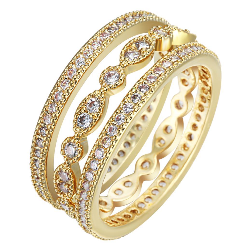 3 stks unieke micro verharde witte zirkoon vinger ring sets voor vrouwen luxe leuke bruiloft dunne elegante mode-sieraden