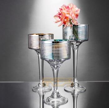 German original single 22K gold and silver glass vase Candleholder Candlestick crafts decoration wedding model bar club