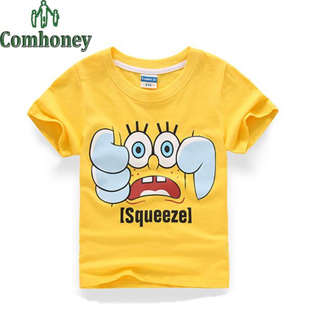 Esponja Bob Meninos T-Shirt 3D Dos Desenhos Animados Do Bebê Crianças T-shirt de Algodão de Verão de Manga Curta Crianças Camisa de T para Meninos das Meninas roupas