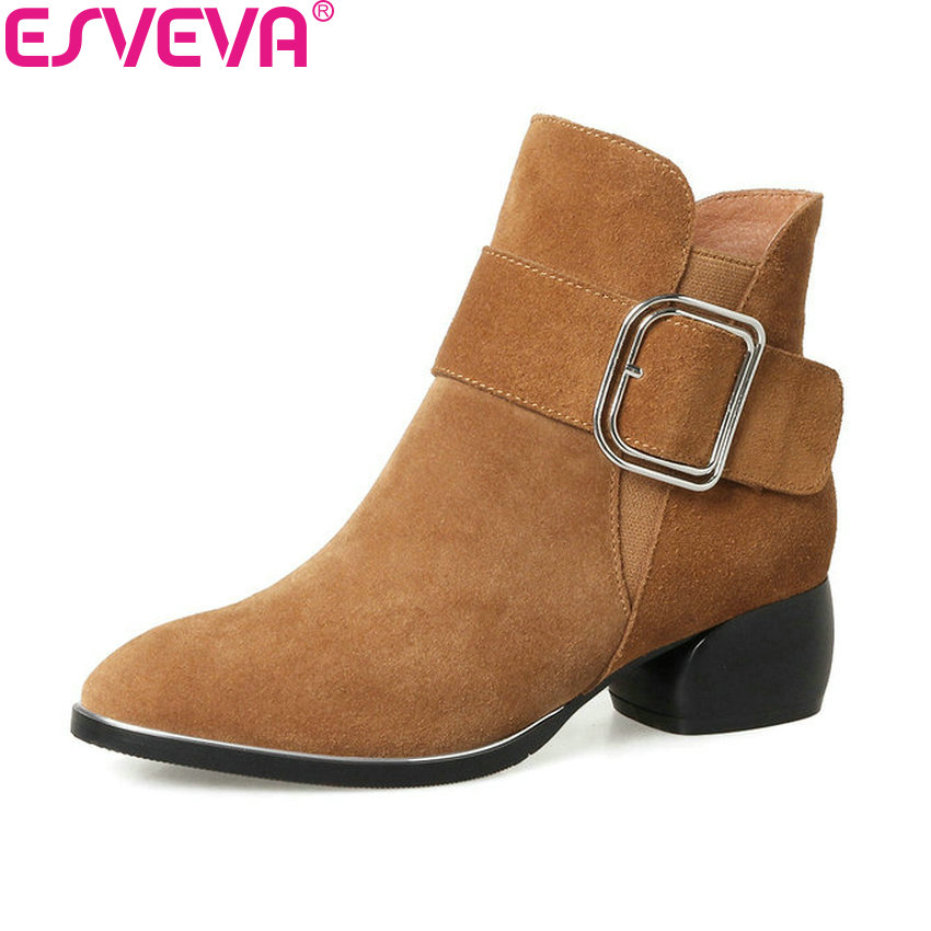 ESVEVA 2018 med heel Women Boots Cow Suede Spring Autumn Shoes Square Heels Ankle Boots Ladies Motorcycle Boots Black Size 34-42 morazora fashion shoes woman ankle boots for women cow suede med heels shoes in spring autumn boots platform big size 34 44