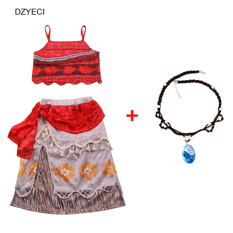 Dzyeci Moana Vaiana Set For Baby Girl Boutique Outfits Halloween Costume Child Vest Beach Skirts Tracksuit Kid Cosplay Necklace To Win A High Admiration Clothing Sets Mother & Kids