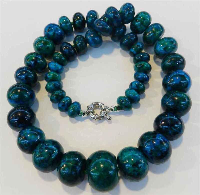 Charming!! 10-20 มม.Azurite หิน Phoenix หินกลมลูกปัดสร้อยคอ