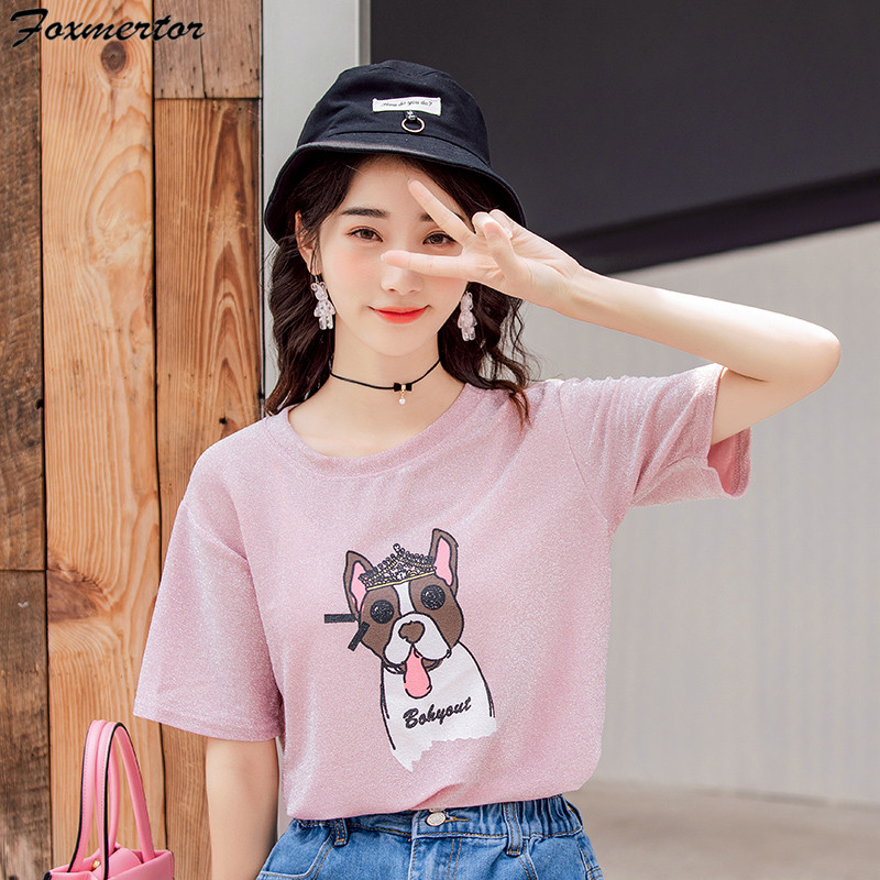 Tops Tee O-Neck Bright Silk Wire Summer T shirt women Naughty Dog t shirt Lovely Puppy Printing harajuku Short Sleeves T-shirts 1