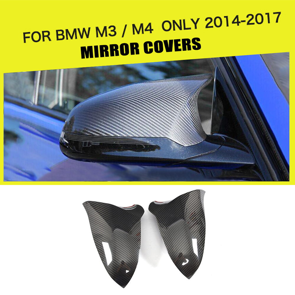 Add On Style Car Rear Review Mirror Cover Caps Sticker Dry Carbon Fiber for BMW F80 M3 F82 F83 M4 Only 2014 2017