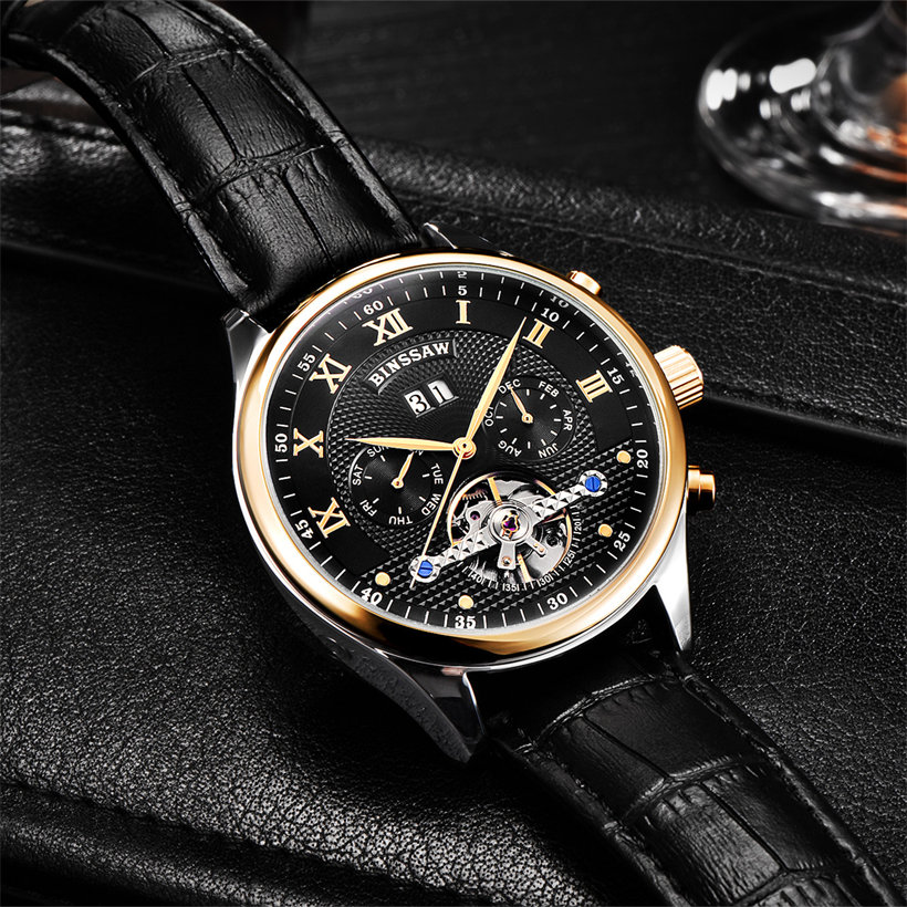 BINSSAW Luxury Mechanical Watch Men Automatic Tourbillon Wrist Watches Top Brand Man Leather Business Clock relogio masculino