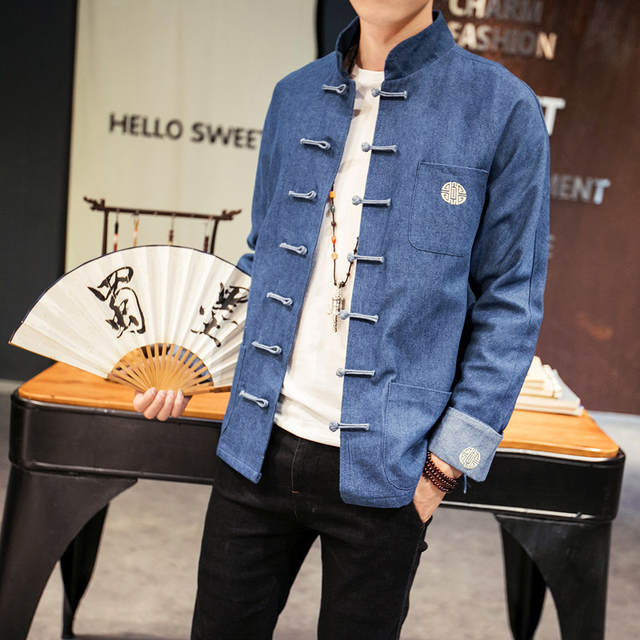 Online Shop Jeans Jacket Men Chinese Style New Design Open Stitch