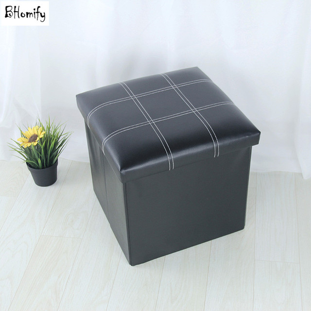Cross Folded Leather Storage Box Sofa Stool Sundries Organizer Seat Chair  Sit Rest Stitching With Buckle