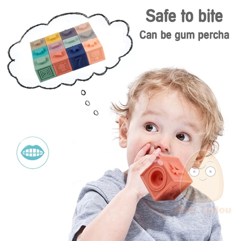 Baby Grasp Toy Soft Rubber Teathers Building Blocks for Kids Sensory Educational Toys Babies 24 Months Bath Ball for Newborn Karachi