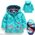 Girls Long Sleeve Windbreak Girl Floral Waterproof Jacket Kid Anorak children