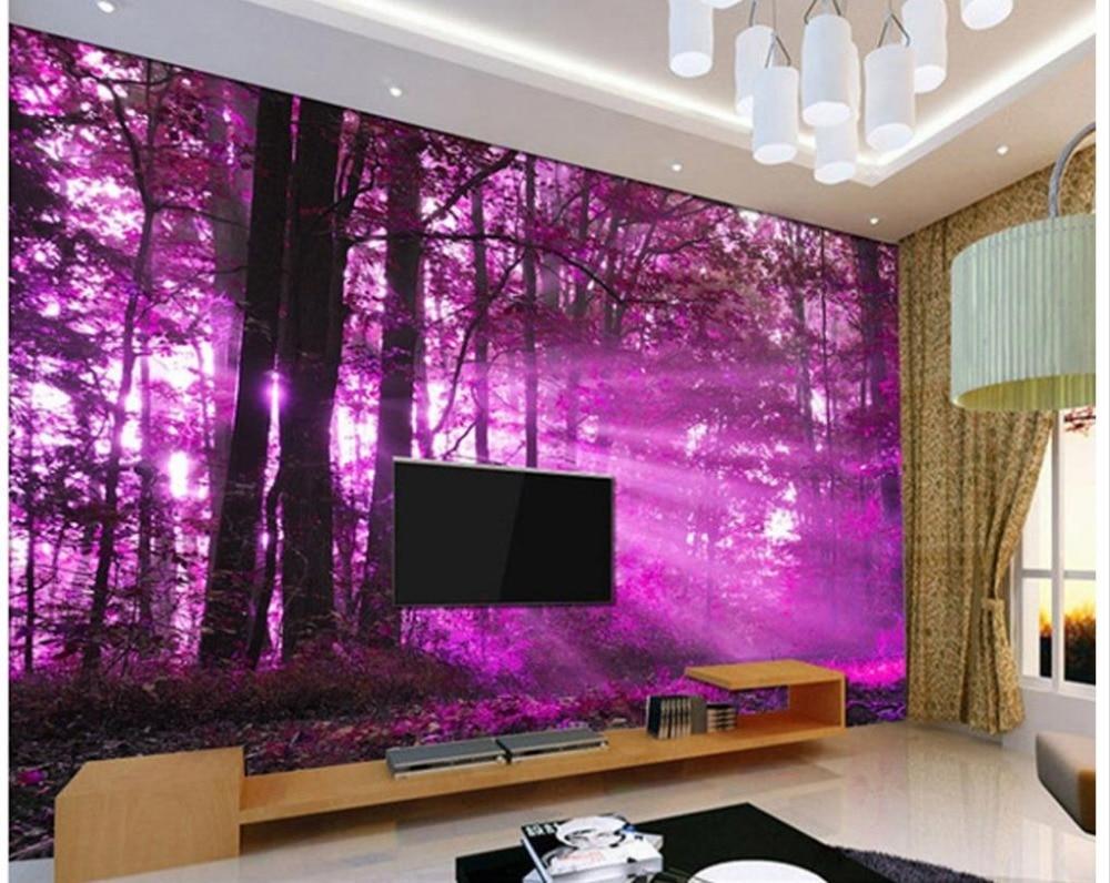 Modern mor renkli banyo dekorasyonu ev dekorasyonu dizayn - Ev Dekorasyon Duvar Ka D Modern 3d Mor Sunshine Orman Manzara Tv Duvar Ka D Banyo China