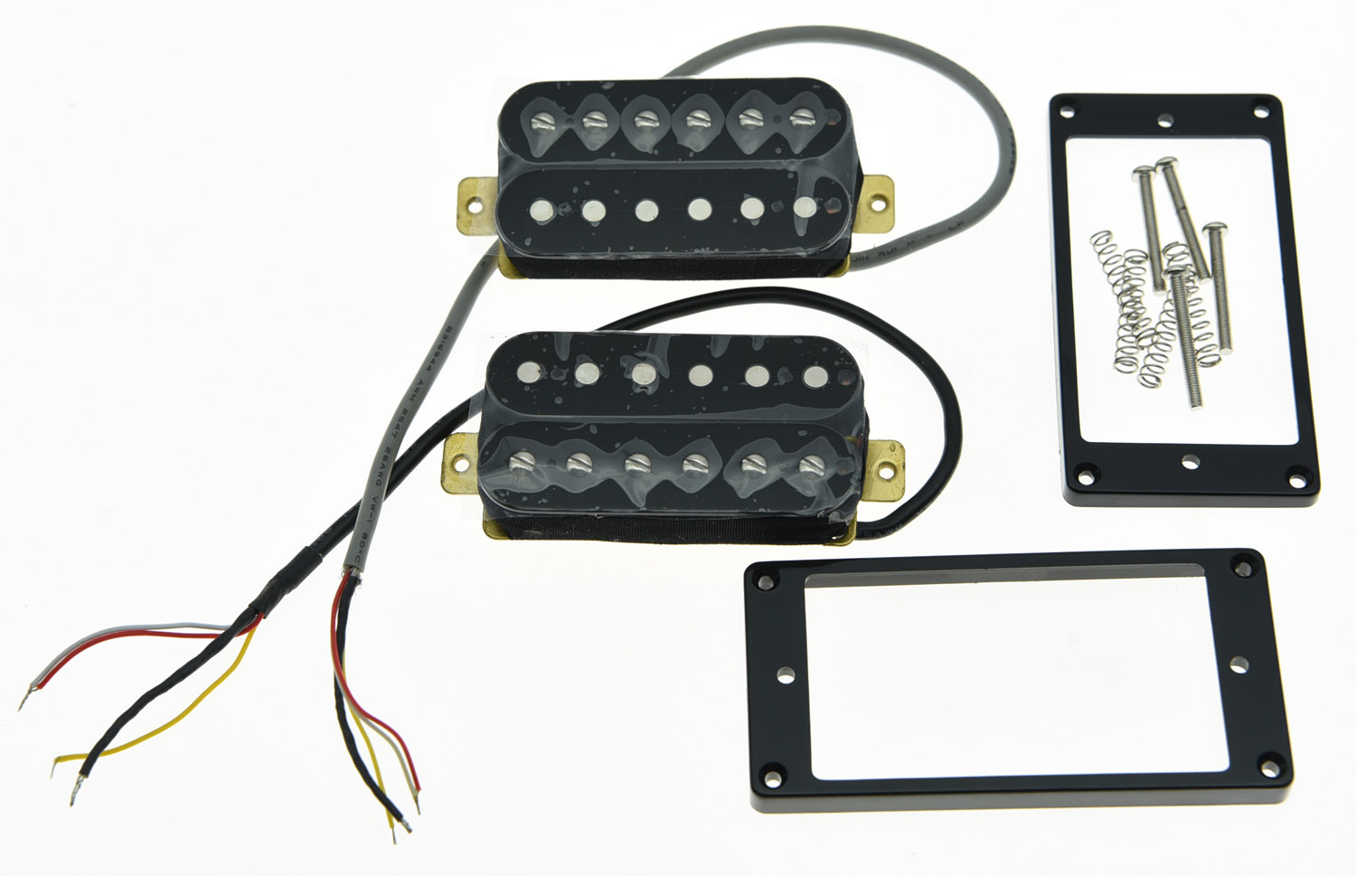 KAISH Set of 2 Black Alnico V Guitar Humbucker Neck&Bridge Pickup Power Sound Pickups new humbucker pickup set gold four conductor wires alnico v pickups