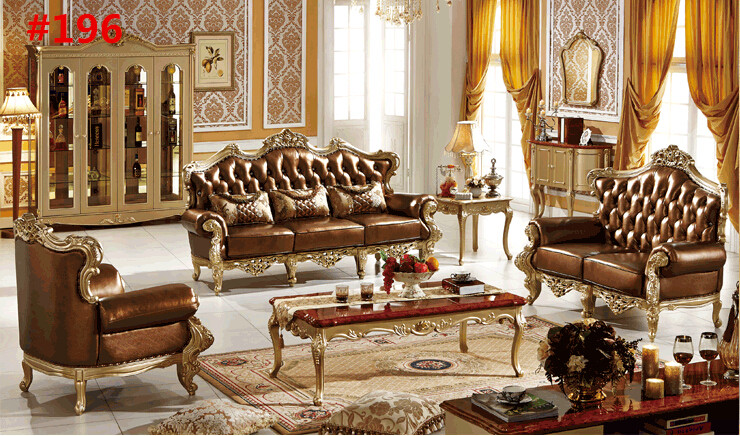 Hand Carved Furniture Royal Italian Leather Sofa Furniture