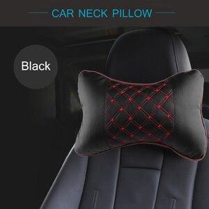 Image 4 - Araba boyun yastık PU deri PP pamuk araba pedi nakış sandalye kafalık malzemeleri boyun emniyet yastık arabalar için iç aksesuarları