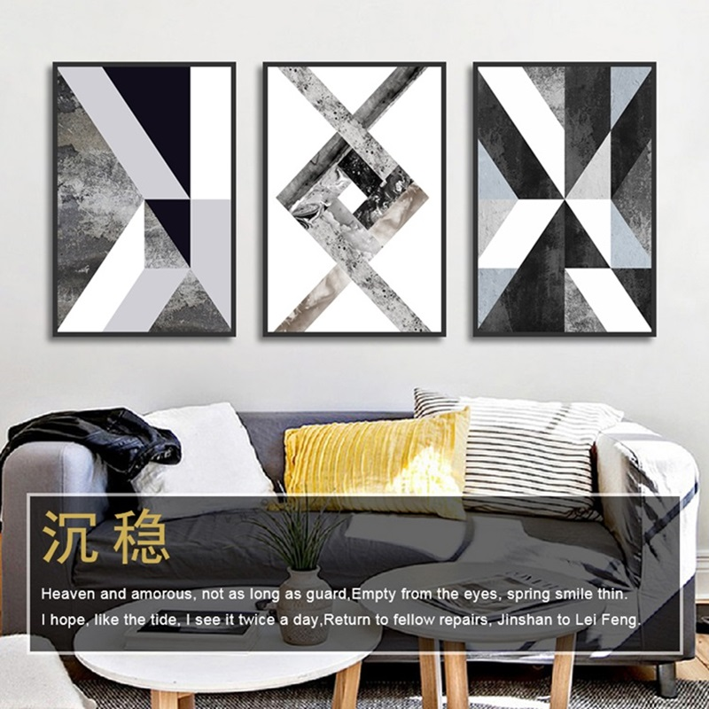 HTB1YFe7cv1G3KVjSZFkq6yK4XXar Abstract Geometric Canvas Painting Black and White Nordic Posters and Prints Wall Art Picture for Living Room Decor No Frame