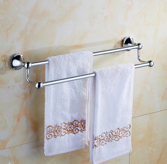 High Quality Chrome wall mounted 24 inch Double Towel Bar Stainless Steel Towel Holder Bathroom Towel Rack Bathroom accessories aluminum wall mounted square antique brass bath towel rack active bathroom towel holder double towel shelf bathroom accessories