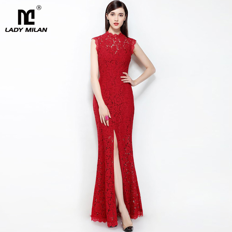 New Arrival 2018 Womens O Neck Sleeveless Embroidery Lace Sexy Split Keyhole Back Party Prom Fashion Long Dresses