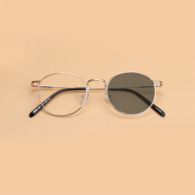 f25f905d027 Retro metal round gold wire for men and women light gray glasses frame  goggles JW