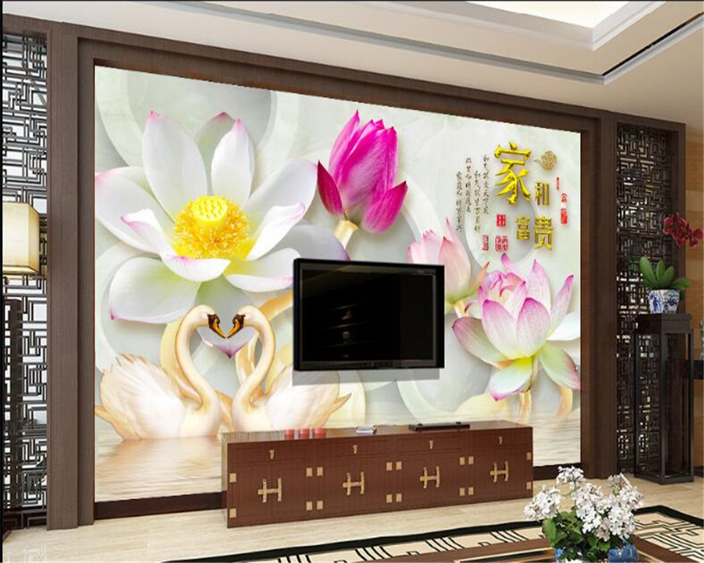 Beibehang 2017 nouvelle lotus de mode intérieur intérieur papier peint maison personnalité stéréo fleur fond d