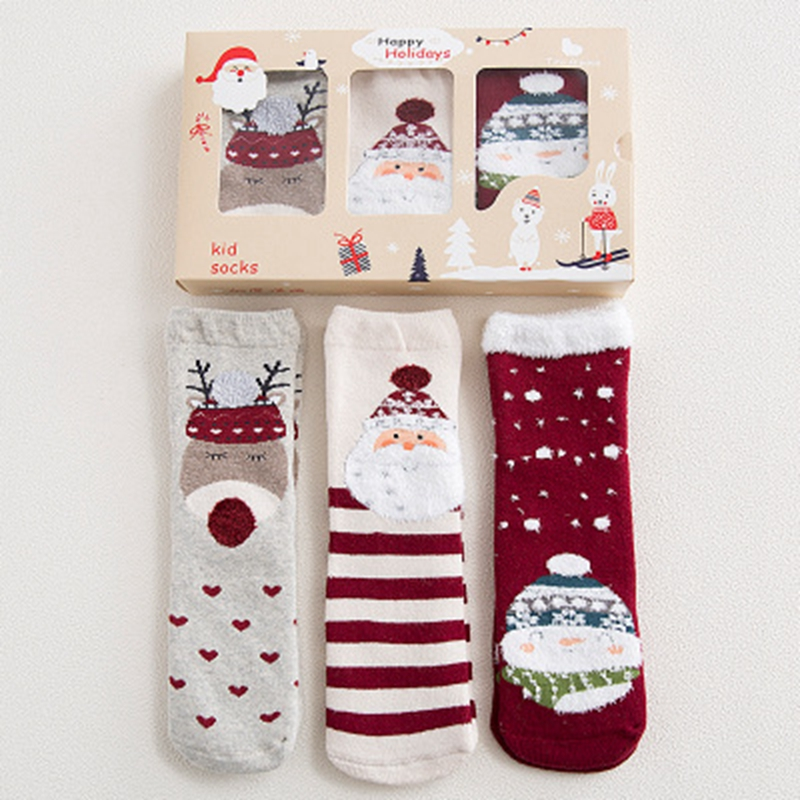 2017 New Nordic style childrens Christmas socks boy & girl socks thickened terry 3 pairs of a festive sale socks gift box CH062