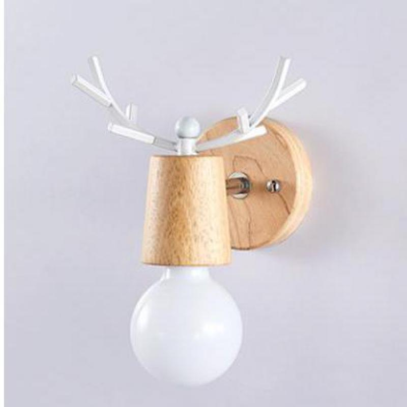 Scandinave Creative Elk applique chambre couloir chevet applique murale rondin bois massif Antler décoratif Luminarias De l'intérieur|Lampes murales d'intérieur LED| |  -