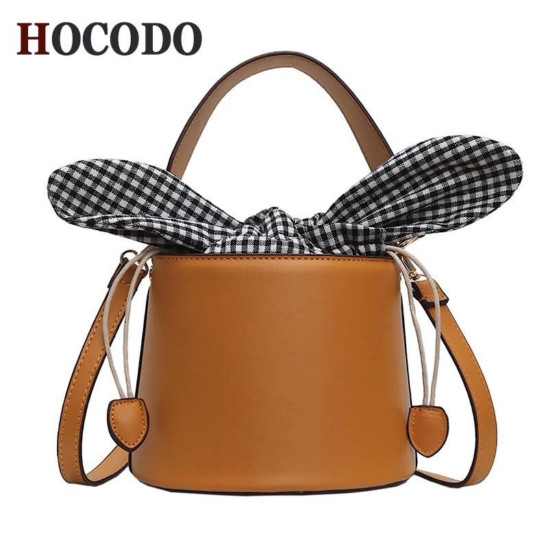 HOCODO New Designer Bucket Bag Pu Leather Handbags Crossbody Bags For Women Messenger Bag Bow Tie Buckle Bag Brown/Black FemaleHOCODO New Designer Bucket Bag Pu Leather Handbags Crossbody Bags For Women Messenger Bag Bow Tie Buckle Bag Brown/Black Female