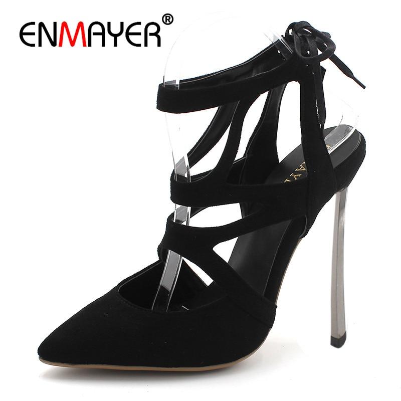 ENMAYER Classic Black Shoes Woman High Heels Shallow Pumps Office&Career Shoes Cross-tied Plus Size 34-43 Lace-up Women Shoe женская футболка lol slim fit t lol 3038241