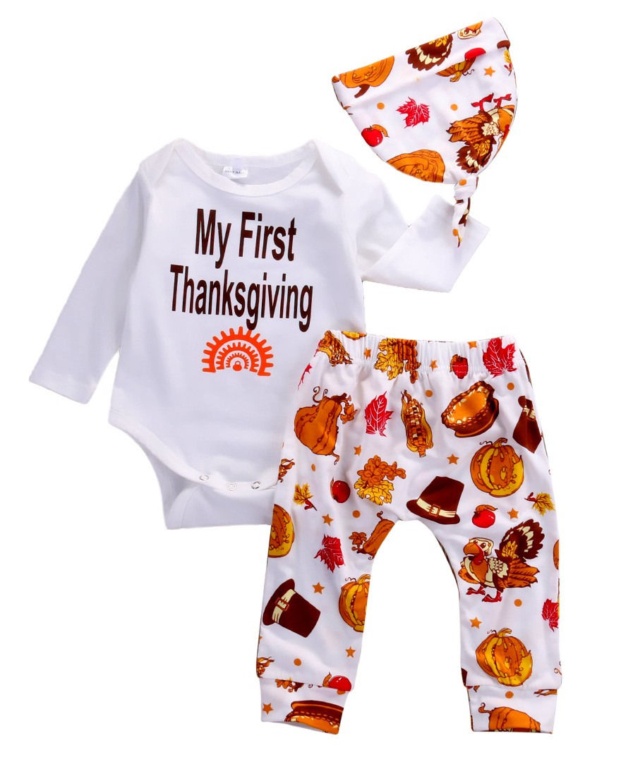 17c07d85b Cute Baby Girl First Thanksgiving Outfit