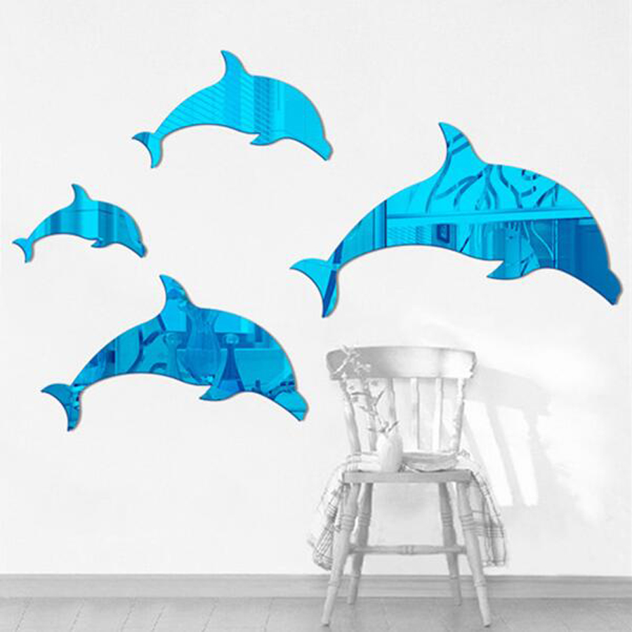 10pcs Wall Hangings 3D Wall Decals Art Mirror Acrylic Wall Stickers Home Decoration Kids Room Classroom Wall Decor Blue Dolphin
