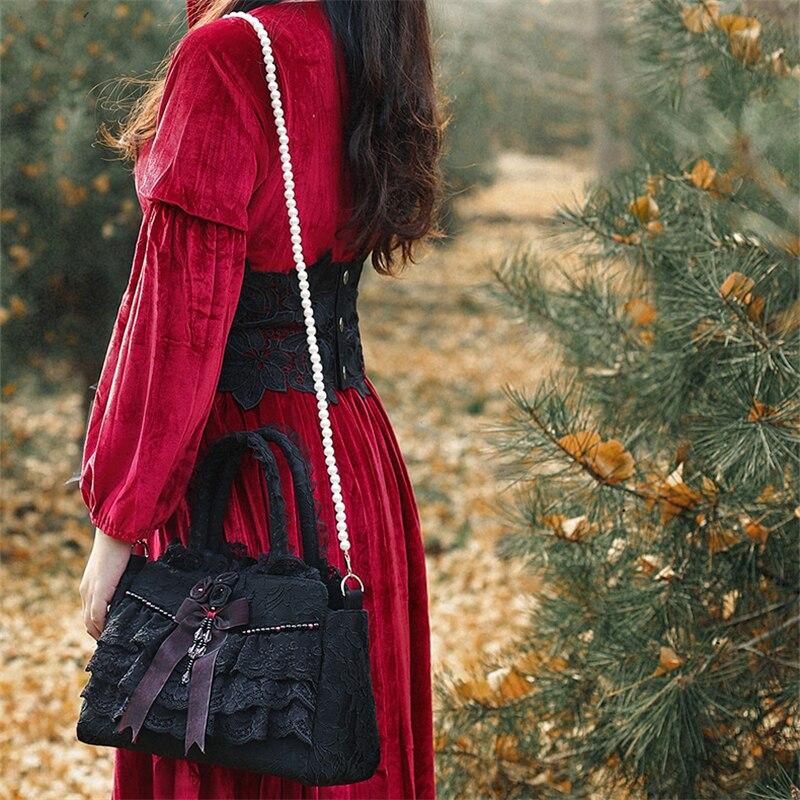 Frauen Totes Spitze Schulter Taschen Floral Lolita Taschen Fliege Frauen Braut Hochzeit Taschen Handmade Gothic Vintage Abend Party Taschen-in Taschen mit Griff oben aus Gepäck & Taschen bei  Gruppe 3