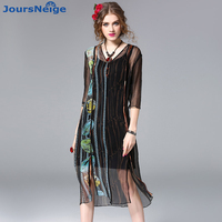 High End Reale Raso di Seta Dress Women 2017 New Estate Stile OL Tre Quarti Stampa Split Abiti Vestidos Mujer Libero Camis